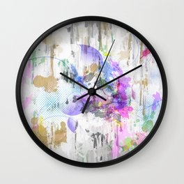 Subdued Running Paint Multi Pattern Abstract Wall Clock