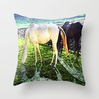 horses Throw Pillows featuring horses by  Agostino Lo Coco