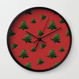 Sparkly Christmas tree green sparkles pattern on Red Wall Clock