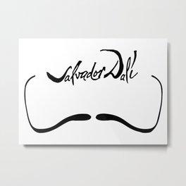 Salvador Dali Mustache with Signature Artwork Metal Print