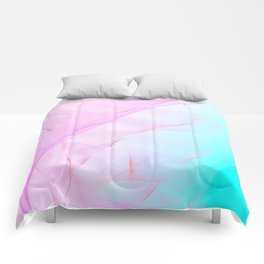 Pastel Motion Vibes - Pink & Turquoise #abstractart #homedecor Comforters