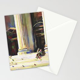 Watercolor painting of man and pigeons in front of the New York City Public Library- New York (USA) Stationery Cards