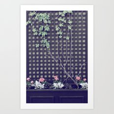Summer Vine and Flowers on Black Wooden Grid Art Print