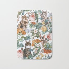 Cat and Floral Pattern III Bath Mat