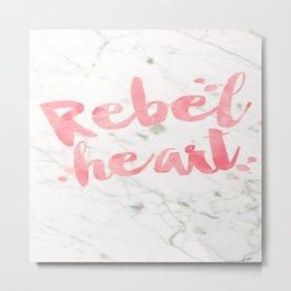 Pink Marble Rebel Heart Love Fearless Brave Young Wild Free Brushstroke Watercolor Ink Metal Print