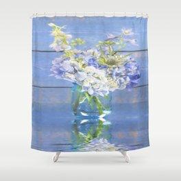 Rustic Hydrangea In Mason Jar Shower Curtain