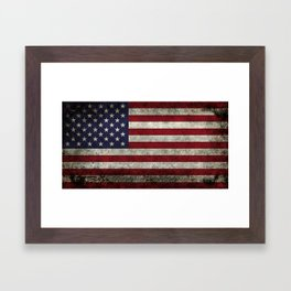American Flag, Old Glory in dark worn grunge Framed Art Print