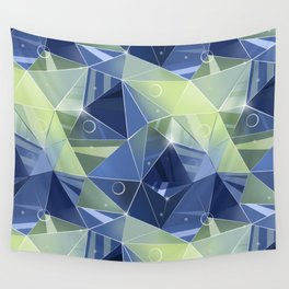 Polygonal pattern.Blue, green background. Wall Tapestry