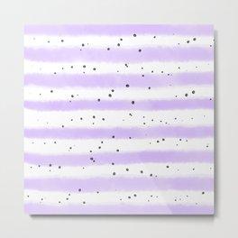 Modern pastel lavender black splatters stripes motif Metal Print