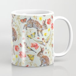 Bunny Meadow Pattern - Green Coffee Mug