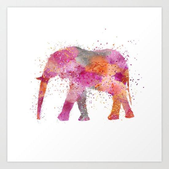 Artsy watercolor Elephant bright orange pink colors Art Print