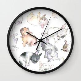 Sleepy French Bulldog Puppies Wall Clock