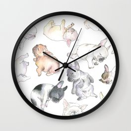 Sleepy French Bulldog Puppies Wall Clock