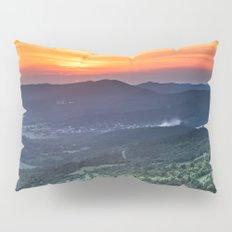 Beautiful sunset behind green fields Pillow Sham
