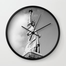 Black and white Statue of Liberty - Liberty Island, New York Wall Clock
