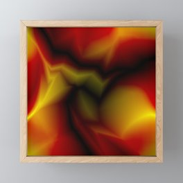 Mystical cosmic sparkling lightning of red zigzags and yellow spots. Framed Mini Art Print