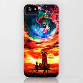 Calvin And Hobbes With Nebula iPhone Case
