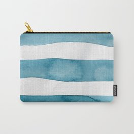 Aqua Stripes Abstract Modern Art Carry-All Pouch