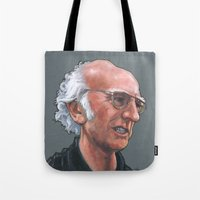 larry david Tote Bags featuring Larry David by Micah Krock