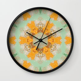 Gold and Blue Pastel Pattern with Brown Accent Wall Clock