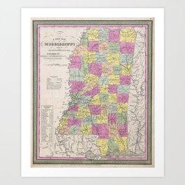 Vintage Map of Mississippi (1853) Art Print