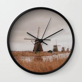 Mills at Kinderdijk // The Netherlands Wall Clock