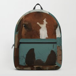 Brown and White Horse Watercolor Dark Backpack