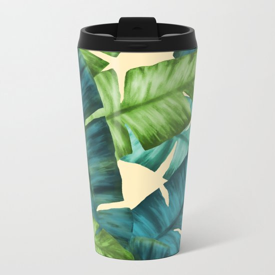Tropical Banana Leaves Original Pattern Metal Travel Mug