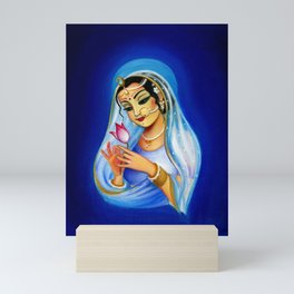 Indian Woman With Lotus Flower - Blue Mini Art Print