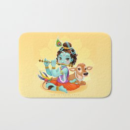 Baby Krishna with sacred cow Bath Mat