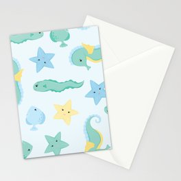 Cute Sealife - Green and Blue Stationery Cards