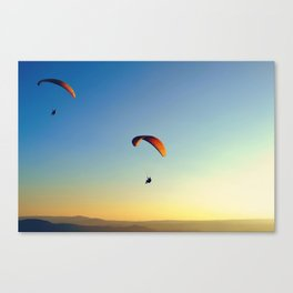 two paragliders in the sky Canvas Print