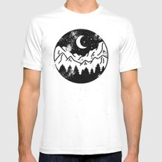 Night SMALL Mens Fitted Tee White