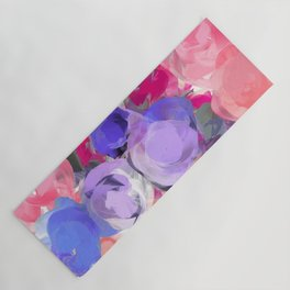 Flower Power in Pink, Purple, Peach and White Yoga Mat