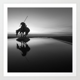 End Of The Trail Native American Silhouette - Monochrome Square Format Art Print