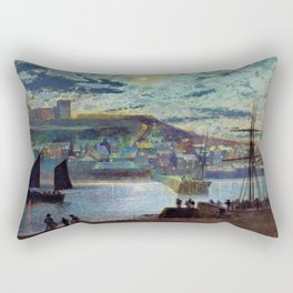 John Atkinson Grimshawn - Whitby Harbor - Digital Remastered Edition Rectangular Pillow