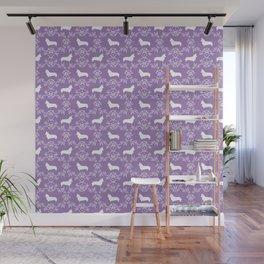 Corgi silhouette florals dog pattern purple and white minimal corgis welsh corgi pattern Wall Mural