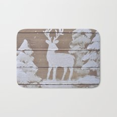 Wood slat deer in the snowy woods Bath Mat