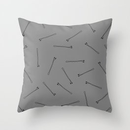 Bobby Pins on Black Throw Pillow