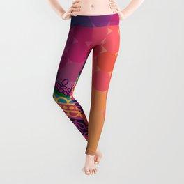 Ethnic Mandala on geometric pattern Leggings