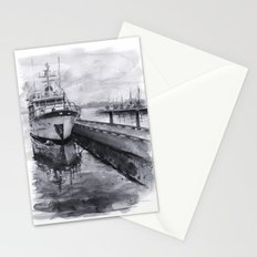 Kirkland Marina Waterfront Boat Watercolor Seattle Stationery Cards