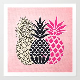 Pineapple in Pink , tropical , hawaii , summer , fruit , pineapple print , pineapple design Art Print
