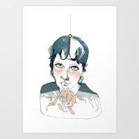 fishing Art Prints featuring fishing by Maria Suckert