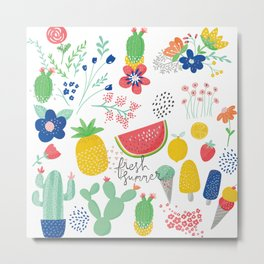 Fresh Summer Fun Desert Bloom & Fruits Pattern Metal Print