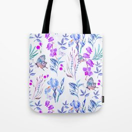Modern purple blue watercolor hand painted orquid butterfly Tote Bag