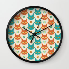 Mid-century Modern Abstract Cat Pattern, Vintage Cats in Orange and Teal Color Wall Clock