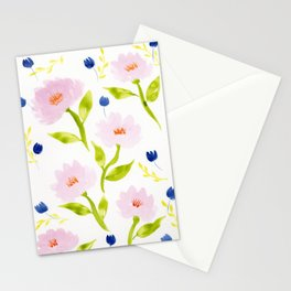 Pink Floral Watercolor Pattern Stationery Cards
