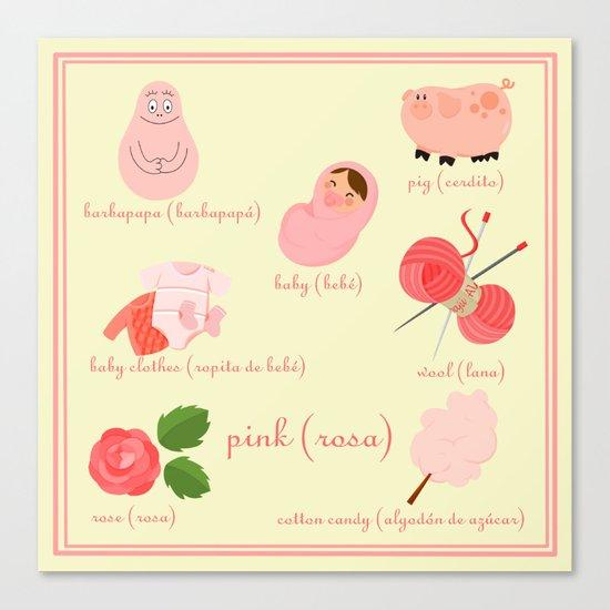 Colors: pink (Los colores: rosa) Canvas Print