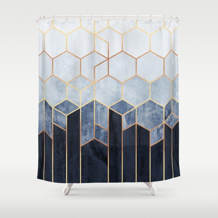 Soft Blue Hexagons Duschvorhang