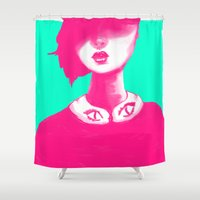 contemporary Shower Curtains featuring Contemporary Collar by Ben Geiger